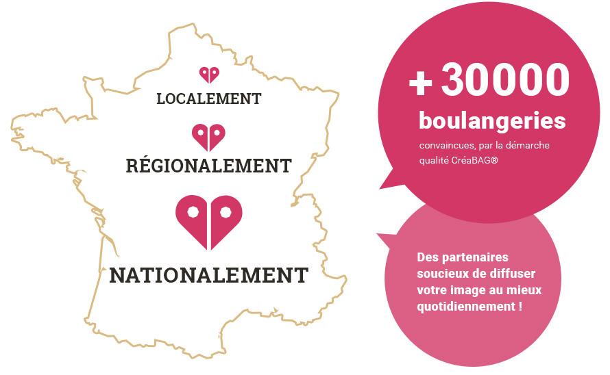 Localement, Régionalement, Nationalement : + 15 000 boulangeries convaincues par la démarche qualité Créabag